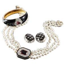 SWAROVSKI Signed Three-strand Pearl Black Enamel Pave Crystal Necklace, Enamel Bangle Bracelet and Earrings