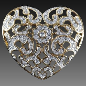 SWAROVSKI Signed Pave Crystal Large Heart Pin
