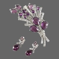 TRIFARI  'Alfred Philippe' Amethyst and Pave Crystals Large Floral Spray Clip/Pin and Pendant Earrings