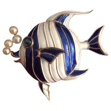 TRIFARI 'Alfred Philippe' Blue and White Enamel Angelfish with Pearl Bubbles Pin
