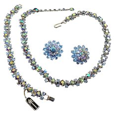 TRIFARI Aurora Borealis and Light Sapphire Blue Rhinestones Necklace, Bracelet and Earrings