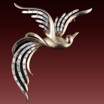"TRIFARI 'Alfred Philippe' Large 4"" Diamante Baguette Bird of Paradise Pin"