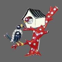 TRIFARI 'Alfred Philippe' Enamel and Rhinestone 'Birds and Birdhouse' Clip/Pin