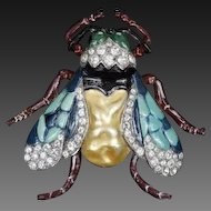 TRIFARI 'Alfred Philippe' Enamel and Baroque Pearl Belly Fly/Bug Pin/Clip
