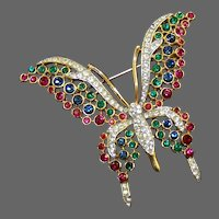 TRIFARI 'Alfred Philippe' Ruby, Emerald, Sapphire and Pave Butterfly Pin