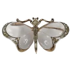 TRIFARI 'Alfred Philippe' 1949 Lucite 'Jelly Belly' and Pave Butterfly Pin