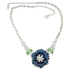 TRIFARI 'Alfred Philippe' Pave and Blue Enamel Carnation Necklace