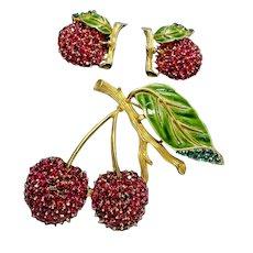 TRIFARI 'Alfred Philippe' Enamel & Diamante 'Cherries' Pin and Clip Earrings Set