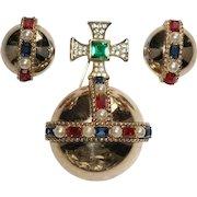 TRIFARI 'Alfred Philippe' 1950's Jeweled 'Coronation Gems' Globe/Orb and Clip Earrings Set