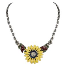 TRIFARI 'Alfred Philippe' Enamel and Pave Daisy Flower Necklace
