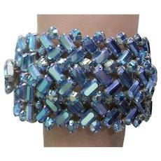 SHERMAN Layered Peacock Blue Aurora Borealis Crystals Wide Rigid Bangle Bracelet