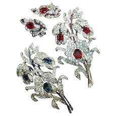 TRIFARI 'Empress Eugenie' Enamel Triple Sapphire and Ruby Pave Floral Spray Pins and Clip Earrings