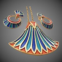 TRIFARI 'Egyptian Revival' Coral, Lapis, and Turquoise Enamel Pendant Necklace and Clip Earrings Set