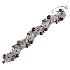 TRIFARI 'Alfred Philippe' Amethyst, Diamante, and Enamel 'Empress Eugenie' Floral Bracelet