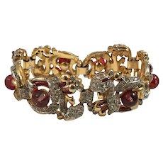 TRIFARI 'Alfred Philippe' Glass Cabochon, Diamante, and Enamel 'Empress Eugenie' Floral Bracelet