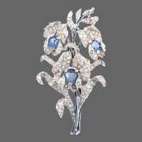 TRIFARI Empress Eugenie Metallic Enamel, Sapphire and Pave Spray Pin