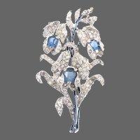 TRIFARI 'Alfred Spaney' Empress Metallic Enamel, Sapphire and Pave Spray Pin