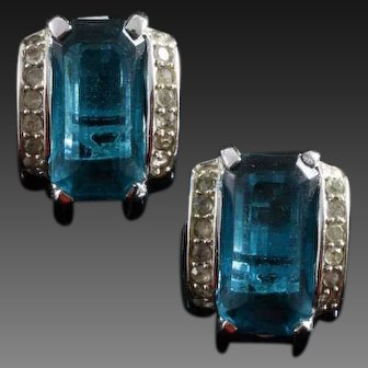 TRIFARI  'Alfred Philippe' Deco Emerald and Pave Clip Earrings
