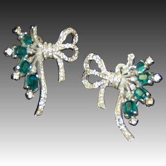 TRIFARI  'Alfred Philippe' Deco Emerald and Pave Ribbon Clip Earrings