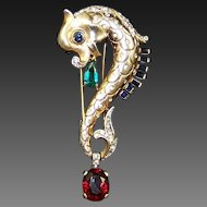 TRIFARI 'Alfred Philippe' Sterling Ruby, Emerald, Sapphire, Diamante 'Leaping Fish' Pin/Clip