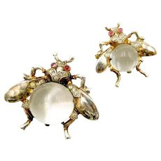 TRIFARI 'Alfred Philippe' STERLING Medium and Small Lucite 'Jelly Belly' Fly Pins