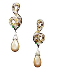 TRIFARI 'Garden of Eden' Gold, Pave and Pearl Pendant Snake Post Earrings