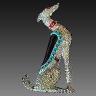 TRIFARI 'Alfred Philippe' Ultra Rare Enamel & Pave Sitting 'Greyhound'' Clip/Pin