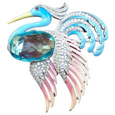 TRIFARI  'Alfred Philippe' Massive Pave Aquamarine and Enamel Flying Heron Clip/Pin