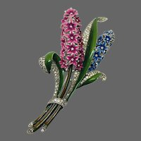 TRIFARI 'Alfred Philippe' Enamel and Pave Giant Double Hyacinth Clip/Pin