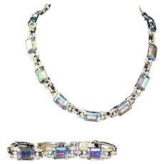 MAZER Aurora Borealis and Diamante Crystals Link Necklace and Bracelet Set