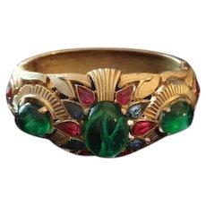 TRIFARI 'Alfred Philippe' 'Jewels of India' Emerald, Ruby and Sapphire Wide Bangle Bracelet