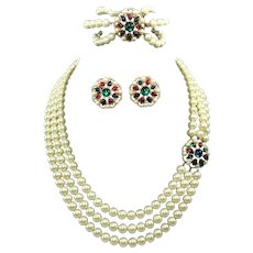 TRIFARI 'Alfred Philippe' 'Jewels of India' Pearl, Emerald, Ruby, Sapphire and Pave 3-Strand Necklace, Bracelet and Clip Earrings