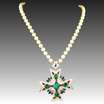 TRIFARI 'Alfred Philippe' Jewels of India' Emerald, Ruby, Sapphire and Pave Maltese Cross Pearl Necklace