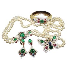 TRIFARI Alfred Philippe 'Jewels of India' Bangle 2-Strand Pearl Necklace, Bracelet, Butterfly Pin and Pendant Earrings