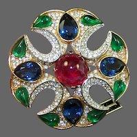 TRIFARI 'Alfred Philippe' 'Jewels of India' Emerald, Ruby, Sapphire, Diamante Maltese Cross Pin