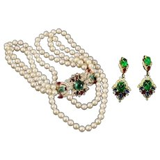 TRIFARI 'Alfred Philippe' 'Jewels of India' Double Strand Pearl Bejeweled Necklace and Clip Earrings Set