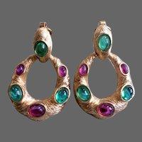 TRIFARI 'Alfred Philippe' Moghul Emerald and Fuchsia Cabochon Clip Pendant Earrings Set