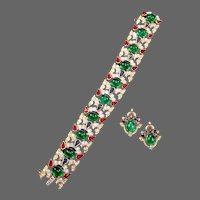 TRIFARI 'Alfred Philippe' Jewels of India' Emerald, Ruby, Sapphire and Pave Bracelet and Clip Earrings
