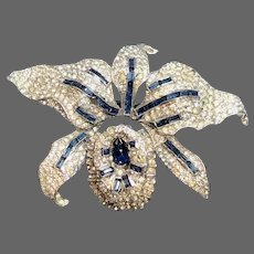 KTF TRIFARI 'Alfred Philippe' 1930's Deco Sapphire and Pavé Orchid Tremblant Pin