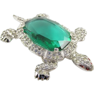KTF TRIFARI 'Alfred Philippe' 1930's Large Deco Emerald and Pavé Turtle Pin