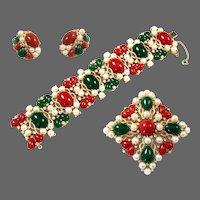 TRIFARI 'Kashmir' Jade, Carnelian, Pearl & Diamante Wide Bracelet, Maltese Cross Pin and Clip Earrings Set