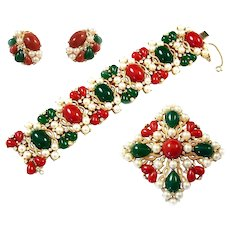 TRIFARI 'Kashmir' Jade, Carnelian, Pearl & Diamante Wide Bracelet, Maltese Cross Pin and Clip Earrings Set
