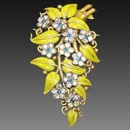 TRIFARI  'Alfred Philippe' Enamel and Rhinestone 'Leaves and Flowers' Clip/Pin