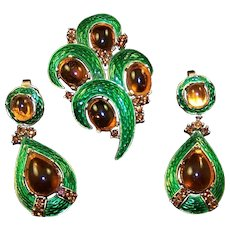 TRIFARI L'Orient Green 'Snakeskin' Enamel and Topaz Cabochons Pin and Pendant Clip Earrings Set