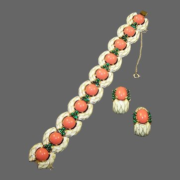 TRIFARI L'Orient White 'Snakeskin' Enamel Coral and Emerald Cabochons Bracelet and Clip Earrings