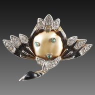 TRIFARI 'Alfred Philippe' Enamel and Pearl Belly Ming Duck Pin