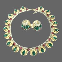 TRIFARI Moghul 'Jewels of India' Scheherazade Emerald, Ruby, Diamond Link Necklace and Earrings