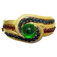 TRIFARI Jewels of India Moghul Emerald, Ruby and Sapphire Cabochons Hinged Bangle Bracelet