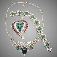 TRIFARI 'Alfred Philippe' 1949 Moghul 'Scheherezade'  Emerald, Ruby and Pave Necklace, Bracelet, and Heart Clip/Pin Set