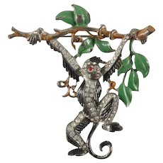 TRIFARI (Unsigned) 'Alfred Philippe' Pave and Enamel Monkey Swinging from a Branch Pin